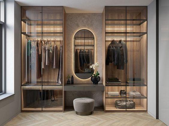 تصميم دولاب الملابس الشفاف