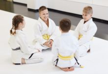 Group of children doing karate